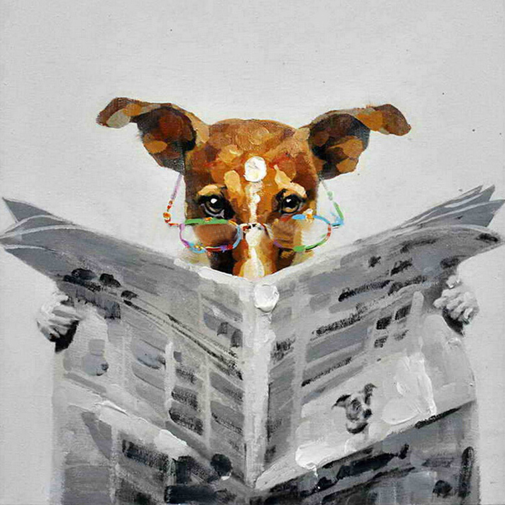 Read font b newspapers b font font b dog b font oil painting hang a picture1
