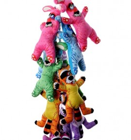 Разноцветные смешные животные 12 шт на веревке